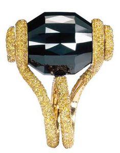 . bling, jewelleri, yellow gold, carat black, diamond ring, diamonds, de grisogono, black diamond, jewelri