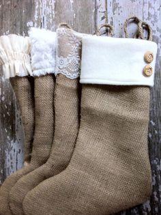 decorating with burlap christmas | Christmas Burlap Stockings on Etsy.