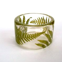Fern Botanical Resin Bangle.  Chunky Bracelet with Pressed Flowers.  Real Flowers - Green Fern Bracelet. $44.00, via Etsy.