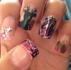 Camo and deer nail art