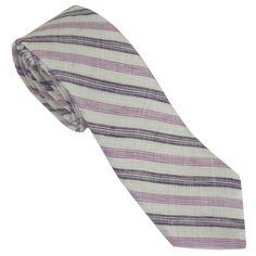 Purple & Lavender Stripe Linen Tie
