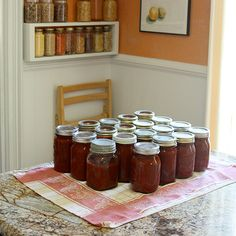 Canned Pizza Sauce Recipe       Yields 14 pints or 7 quarts      45-50 lbs of tomatoes (1 bushel)  6 cups onion, chopped  12 cloves garlic, minced  1/2 cup olive oil    4 tablespoons oregano  6 bay leaves  1 tablespoon ground black pepper  1 tablespoon honey  2 tablespoons salt (optional)  1 jalapeno, minced (optional)    Bottled lemon juice