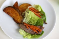 lettuce wraps with steak & carrots - a great meal to let kids serve (and assemble) themselves steak, carrot