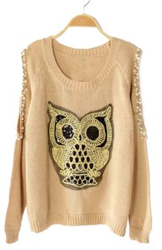 Beaded owl sweater..would be cute with leggings