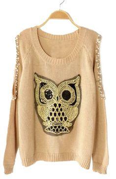 Beaded owl sweater