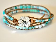 Blue Aqua Turquoise Green and Silver Multi Czech Beaded by Seachic, $30.00
