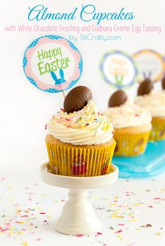 Almond White Chocolate Cupcakes with Cadbury Creme Eggs - Titicrafty by Camila