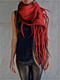 Theo Scarf Cherry Red With Horse Hair & Feather Tassels Taiana Design Hand Felted Scarves