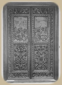 Carved Doors in the portico entrance to Falcon Lair