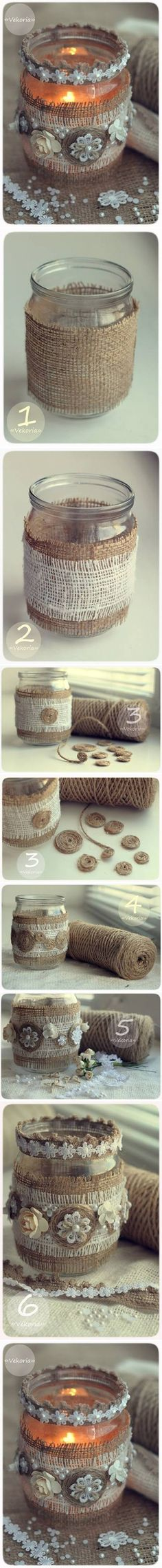 DIY Vintage Burlap Candle Holder