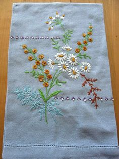 Hand Embroidered Tea Towel - Blue Linen with Daisies by Finderie on Etsy