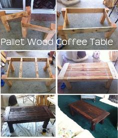 Pallet Coffee Table @ DIY Home Ideas Want to use this tutorial for a dining table.