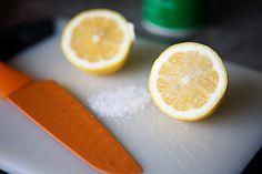 Clean copper with salt & lemons