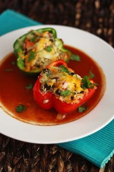 Mexican Stuffed Peppers with Quinoa & Black Beans I One Lovely Life
