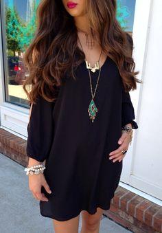Black swing dress #swoonboutique