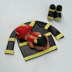 FIREFIGHTER BABY SHOWER Cake Topper First Birthday Party Fondant Cake Fireman Firetruck