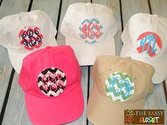 Ladies Frayed Patch Monogrammed Caps on Etsy, $18.99