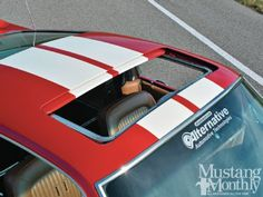 Mustang Monthly-1968 Shelby GT500 with the sunroof open. This car has documentation to prove that the sunroof was installed while it was a Ford Company car and it was used to test the viability of offering a sunroof option. The option proved too expensive and this is the only known 68 like it! Enter to win it at: http://www.winthemustangs.com. Promo:WB1513M4