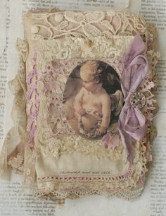 Mixed Media Fabric Collage Book of Lavender and Old Lace |