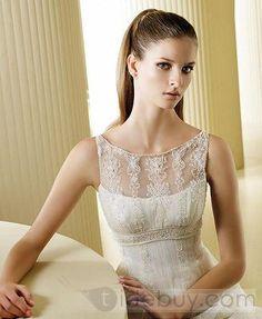 Gorgeous White Organza Empire Bateau Sleeveless Vintage Wedding Dresses