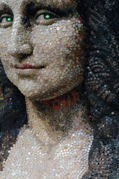 Mona Lisa made of buttons found inside the Hankyu shopping center, artist unknown, photo by Joe Collver.