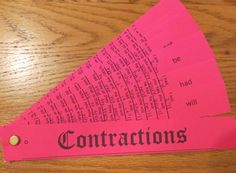 This free simple to make fan organizer is a great way to have your students practice contractions.