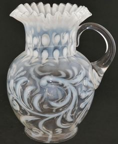 braid opalesc, art glass, fenton glass, glass button