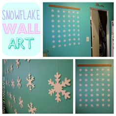 You could cut out your own snowflakes, to make this an even more personalized decoration. The graphic print makes a playful statement against the wall!