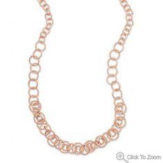 14 Karat Rose Gold Plated Diamond Cut Link Necklace