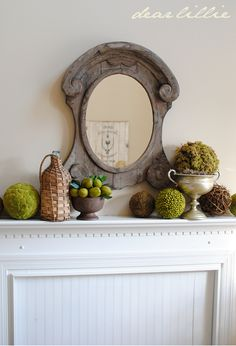 green and silver mantel