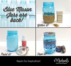 Blue Mason Jar Tutorial