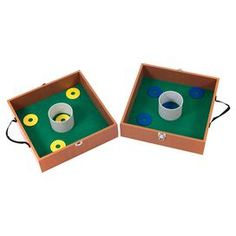 """Washer toss game with 8 washers. Targets combine to become a carrying case.   Product: 8 Washers and 2 game boardsConstruction Material: Wood and feltColor: Green and naturalFeatures: Targets become a carrying case for easy transportationDimensions: Washers: 0.13"""" H x 2.5"""" W x 2.5"""" D Game Board: 3.5"""" H x 13.5"""" W x 13.5"""" D games, backyard game, outdoor fun, toss game, washer toss, game set, game boards"""