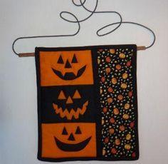 (7) Name: 'Quilting : Happy Halloween Pumpkin Mini Quilt