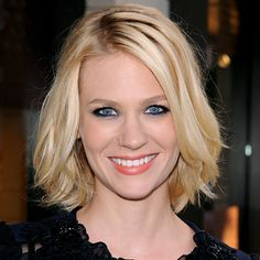 """The length creates that sexiness,"" says celebrity hairstylist #MarkTownsend of #JanuaryJones's piecey bob. ""It's meant to hit right at the sloping curve of the neck."" http://www.instyle.com/instyle/package/general/photos/0,,20276967_20405703_20816269,00.html"