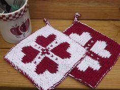 Double Knit Potholder doubl knit, heart, free pattern, knitting, dobul knit, potholders, blues, knit patterns, knit pothold