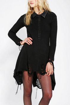UNIF Vegan Leather-Collar Sweater Dress