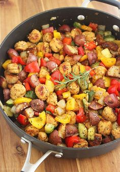 The Comfort of Cooking » Summer Vegetable, Sausage and Potato Skillet (Serve with Marinara on Side)