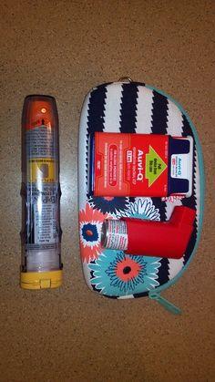 Allergy kit size comparison soft eyeglass case.
