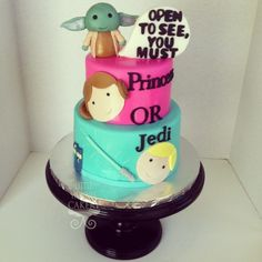 Gender reveal baby shower fondant Star Wars cake. The inside was dyed PINK! She's having a girl! Fondant yoda and princess Leah and Luke. Tiny little tardis in the bottom left corner since she's a fan of Dr. Who :)