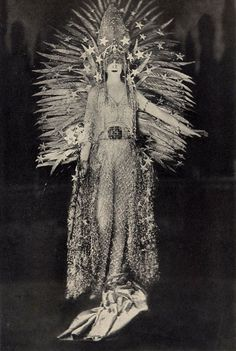 "Marchesa Casati, wearing Charles Frederick Worth's famous ""Light"" costume, 1922."