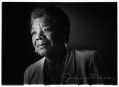 """""""Listen to yourself. And in that quietude, you just may hear the voice of God."""" Maya Angelous' final quote, 5 days ago, on Twitter. A black and white portrait of famous writer Maya Angelou by Jimmy Williams. 1998  #HearHisVoice"""