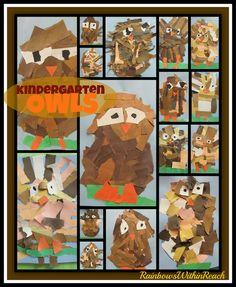 Torn Paper Owl Projects in Kindergarten via RainbowsWithinReach