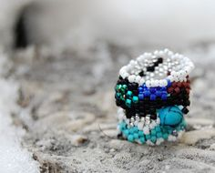 Sea blue dreadlock bead or small ring childrens ring by naessla