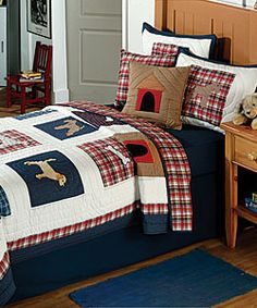 @Overstock.com - Update your bedroom decor with this cozy quilt set  Set includes quilt and two shams (one in twin set)  Bedding is available with a dog motif   Dog/dog house theme in shades of brown and red on a white backgroundhttp://www.overstock.com/Bedding-Bath/Dog-Days-Quilt-Set/2549243/product.html?CID=214117 $79.99