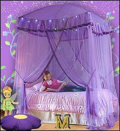 Heavenly purple girls bedroom girl room, canopy beds, light canopi, girl bedrooms, a little princess, bed canopies, sparkl light, princess room, dream rooms