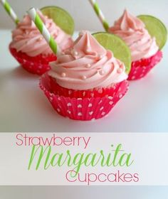 Adorable Strawberry Margarita Cupcakes for Valentine's Day! With or without alcohol #Recipe #Valentines #Cupcakes
