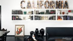 decor, interior, living rooms, white walls, california, wall shelves, hous, homes, letters