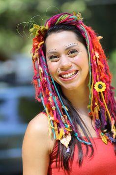 tribal headdress sunflower headdress dreads dreadfalls burningman wig festival hair www.etsy.com/shop/lotuscircle