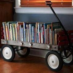 Rejuvenation Salvage Sighting: vintage wagon turned bookcase