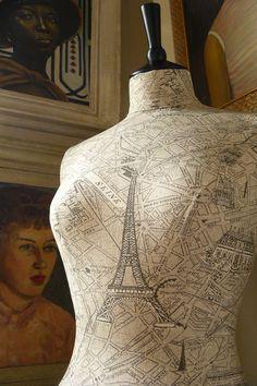 Vintage Print Paris Map Mannequin